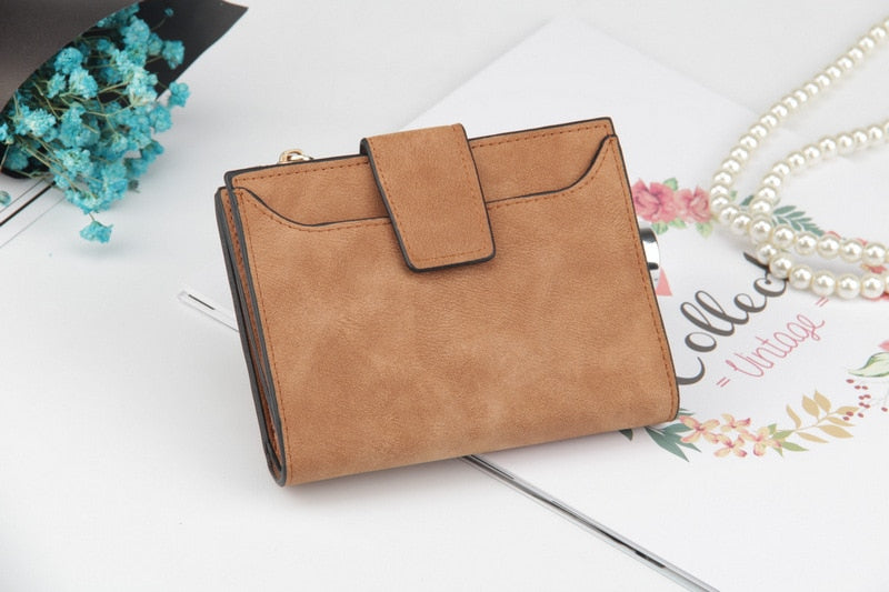 jw08 Saffino Vegan Leather Women Wallet and Coin Pocket Purse in Suede Brown
