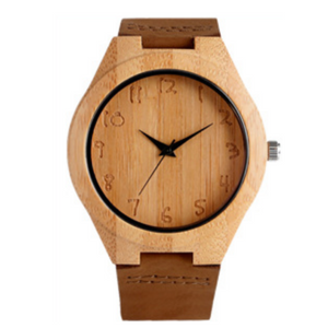 jw08 Nature Wood Quartz Wristwatch with Leather Strap