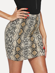 Snakeskin Bodycon Skirt