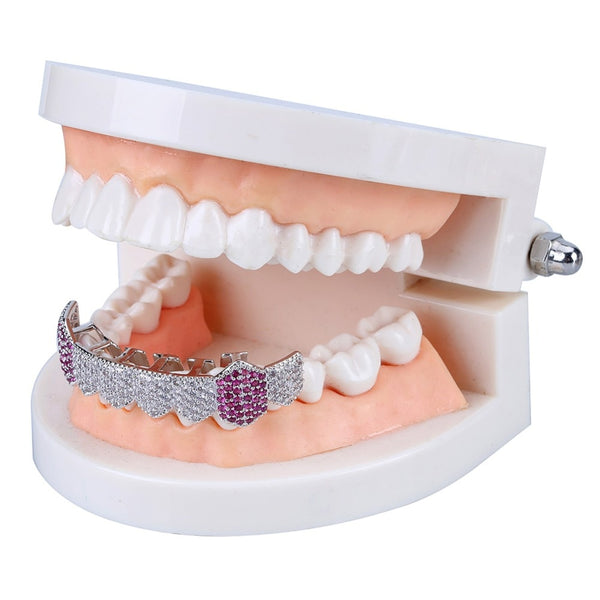 Bottom Iced Grillz with Purple