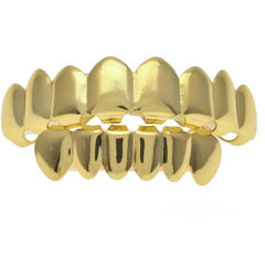 Gold Grillz with Gold Finish Set (8 Teeth)