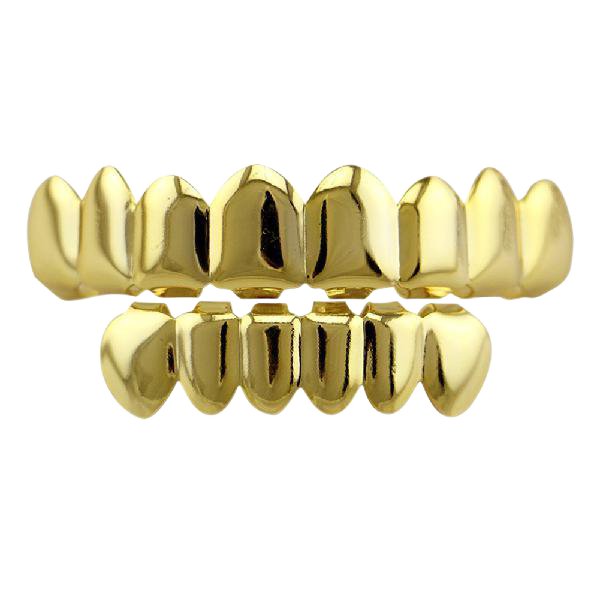 Gold Finish Grills Set Eight 8 Top Teeth