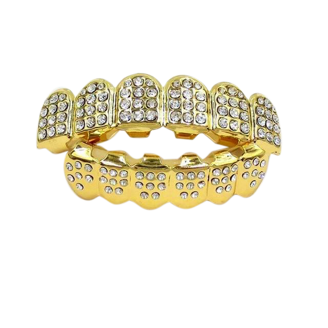 Gold & Silver Iced Out CZ Teeth Grillz