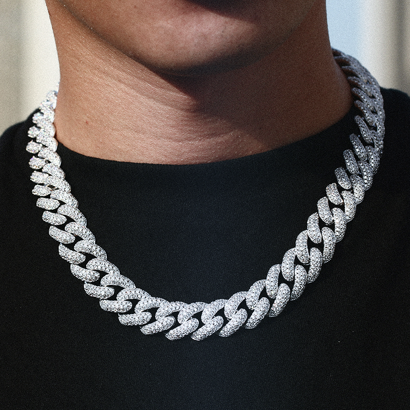 Iced Cuban Link Chain (Silver 15mm)