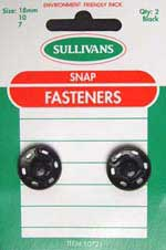 Metal Snap Fastener - (Press Studs) - Black 18mm