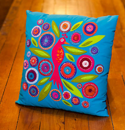 Crested Bird Cushion by Wendy Williams