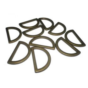 D Rings Flat Antique Gold 15mm