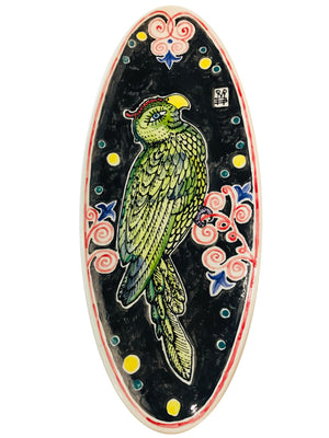 hand painted ceramic dish - Parrot