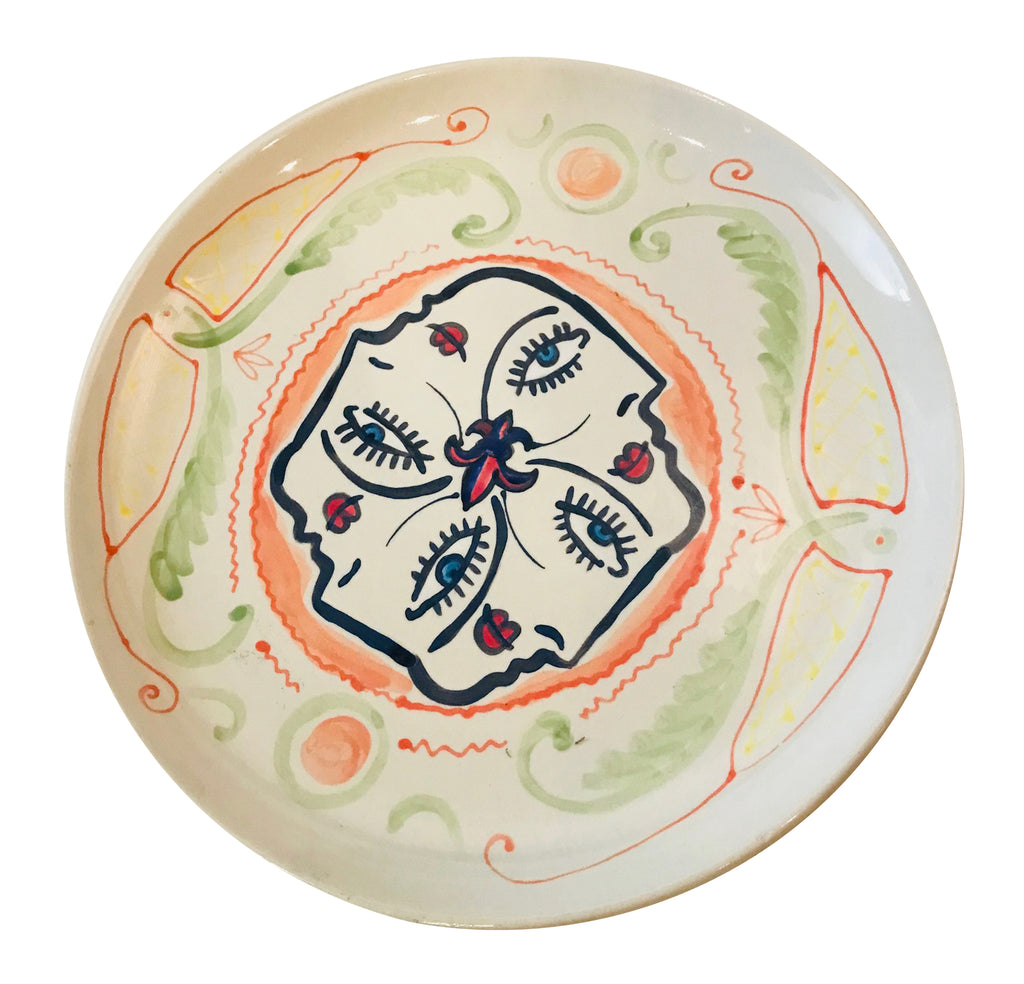 hand painted porcelain plate - 4 Faces