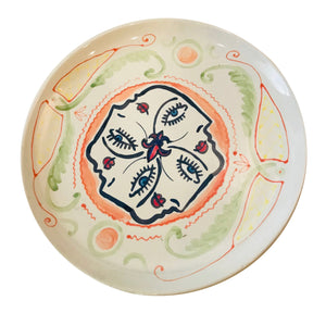 hand painted ceramic plate - 4 Faces
