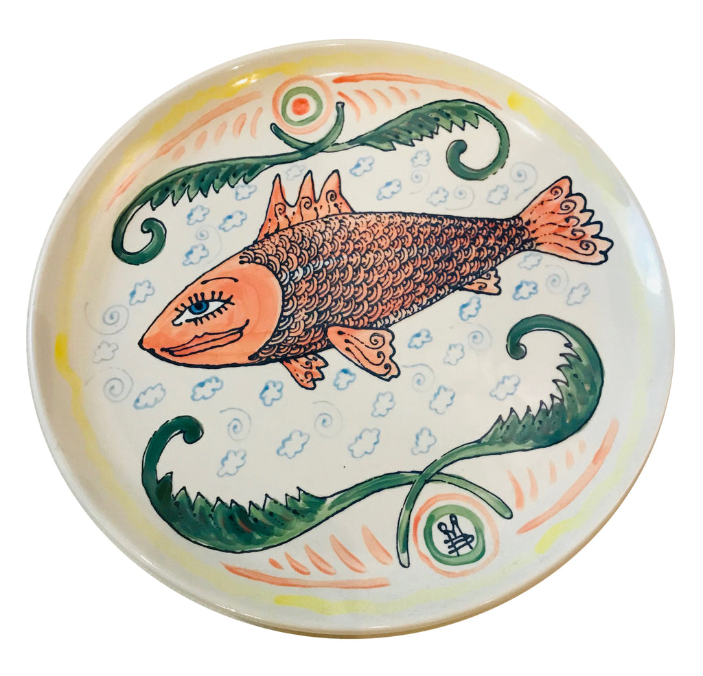 hand painted porcelain plate - Fish