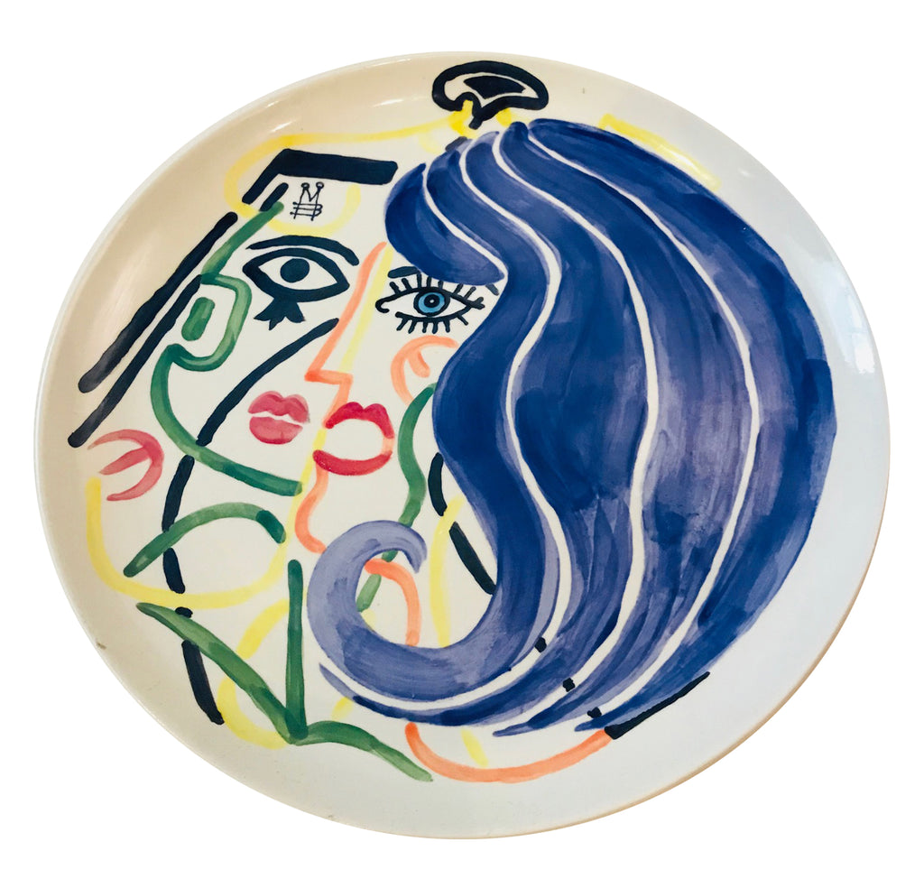 hand painted porcelain plate - Blue Lady