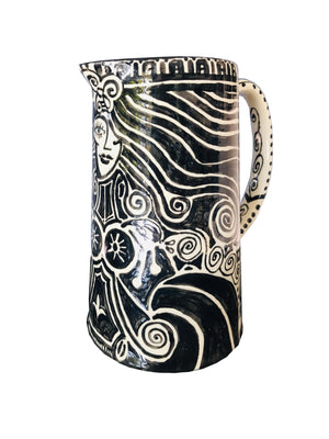 "Hand painted ceramic Water Pitcher "" Madre Natura"""