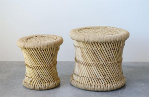 Set of 2 Hand-Woven Bamboo & Rope Side Tables design by BD Edition