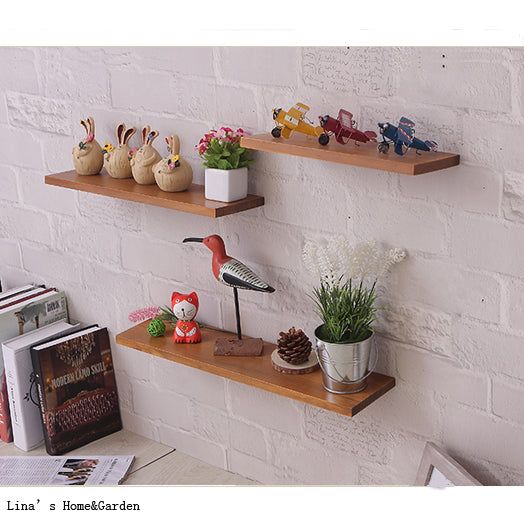 Set 3 Chic Vintage Brown Wood Floating Wall Shelf