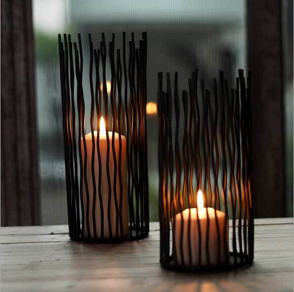 Black Bohemian Style Metal Desk Candle and Tealight  Holder