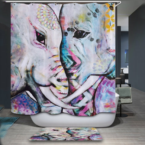 3D Animal Digital Printed Waterproof Washable Bathroom Shower Curtain