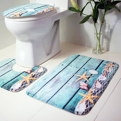 3Pcs Ocean Underwater World Anti Slip Bathroom Mat forToilet and Bath Mat