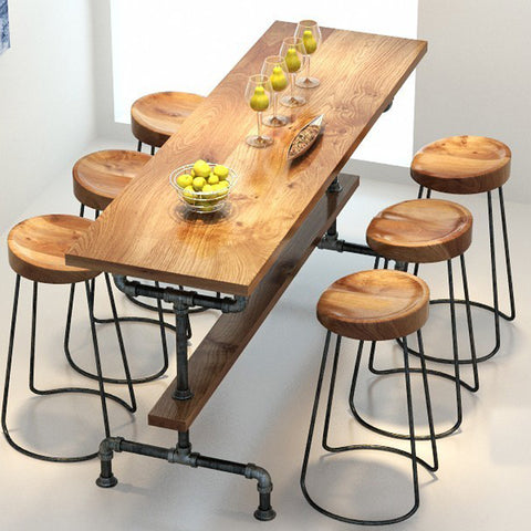 Vintage metal bar table,anti rust treatment,bar stool,100% wooden & metal table set
