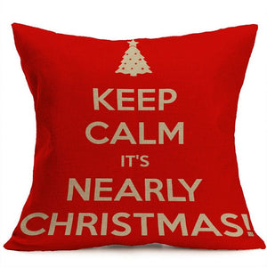 Square Printed Pillow Covers in Christmas Red Character Decoration