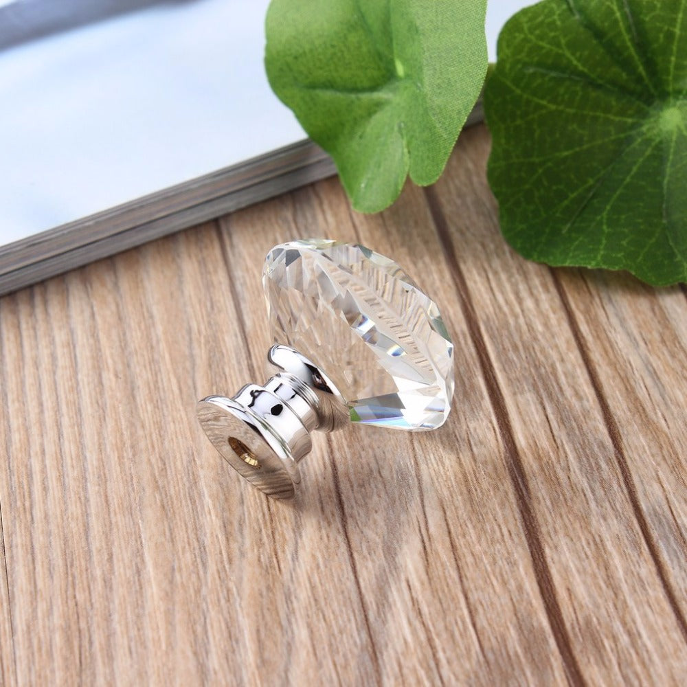 10Pcs -30mm Diamond Plated Crystal Glass Pull
