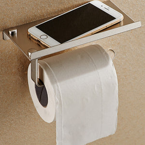 Stainless Bathroom Tissue Holder w/Phone Shelf