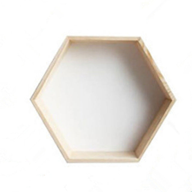 Nordic Style Wooden Hexagon Storage Shelf