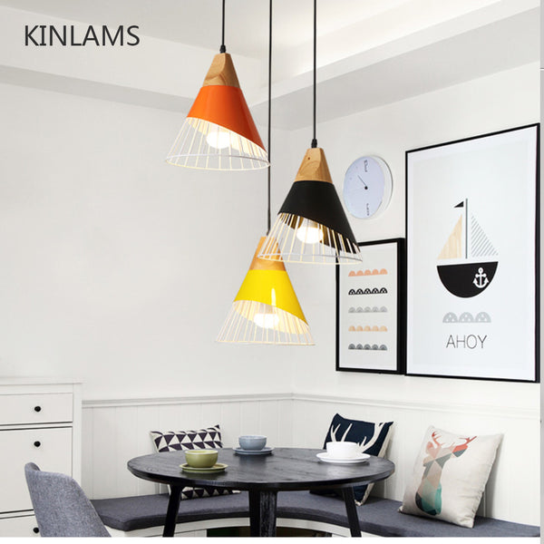 Modern Wood Pendant  and Colorful Iron Lamp Shade