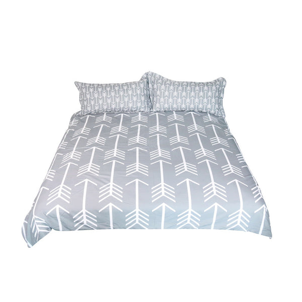 Classical Style  Arrow Printed Duvet Cover With White Bed Set