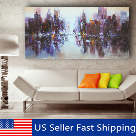 Abstract Modern City Canvas Painting Unframed
