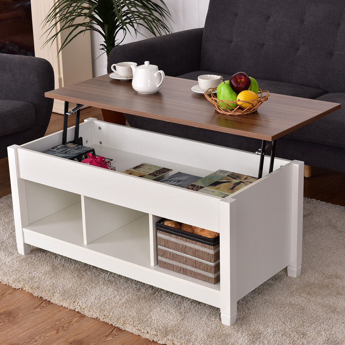 Modern Lift Top Coffee Table w/  Storage Shelves