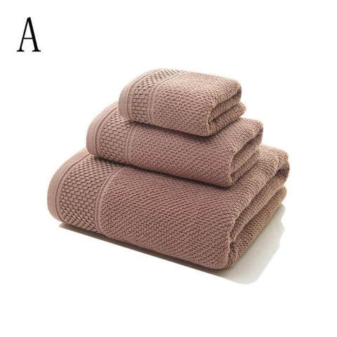 3pcs/set Cotton Absorbent Bath Towel Face Towel Hand Towel