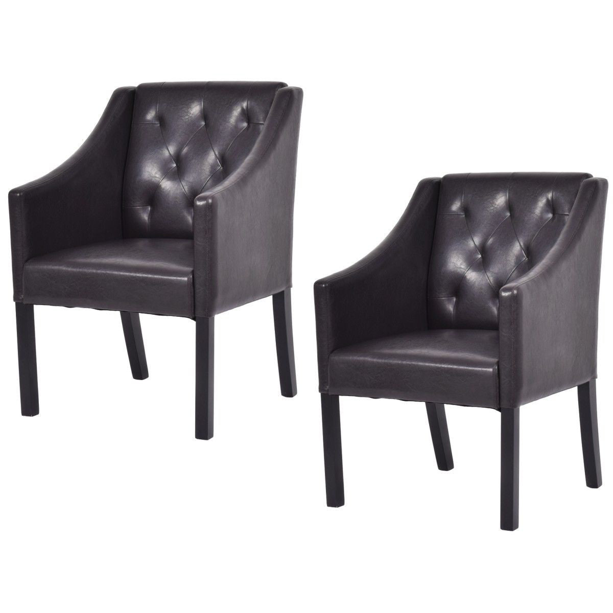 2 Tufted Accent Arm Chair PU Leather