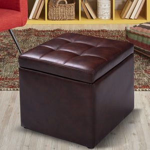 Brown 16''Cube Ottoman Pouffe Storage  Footstool with Hinge Top