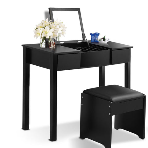 Black Vanity Mirrored Dressing Table Set  W/Stool