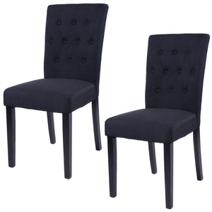 Set of 2 Fabric Armless Dining Chairs