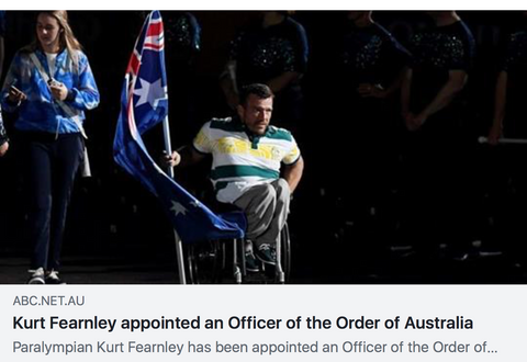 kurt fearnley appointed officer of order of australia