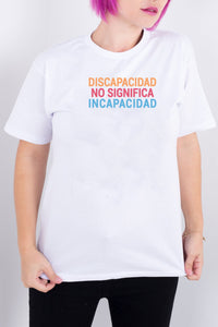 Disability Does Not Mean Inability White Tee (Spanish)