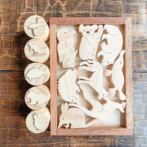 Australian Animal Wooden Playdough Stamps