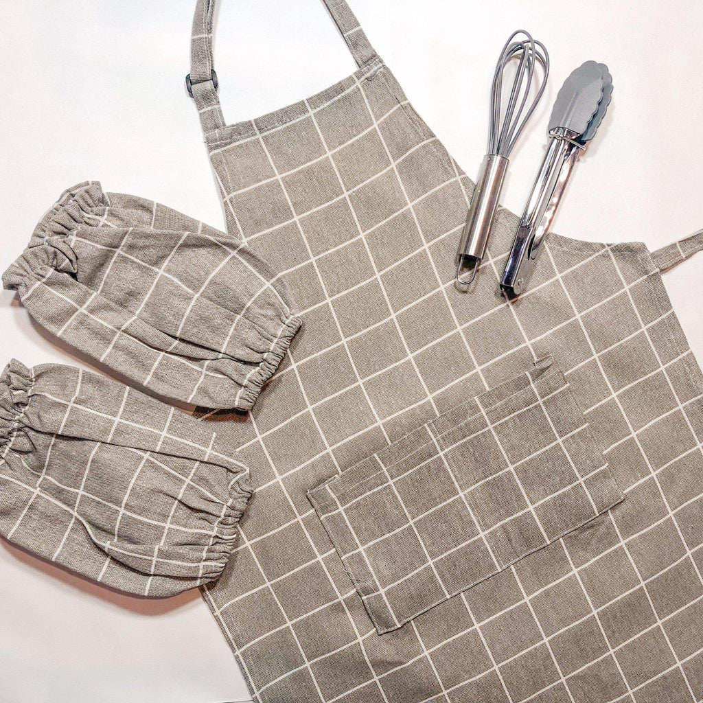 Brown Checkers Parent Aprons for Cooking-[vendor]-My Happy Helpers