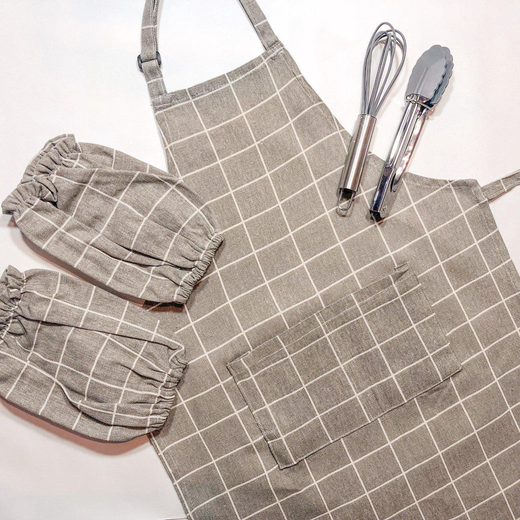 Brown Checkers Toddler Aprons for Baking and Cooking-My Happy Helpers Pty Ltd