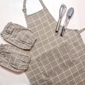 Brown Checkers Toddler Aprons for Baking and Cooking-My Happy Helpers