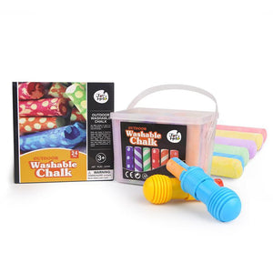 Washable Sidewalk Chalk - 24 Colours Kit with 2 Holders-JarMelo