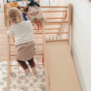 Wooden Climber and Slide Set | Varnished-[product_vendor-My Happy Helpers