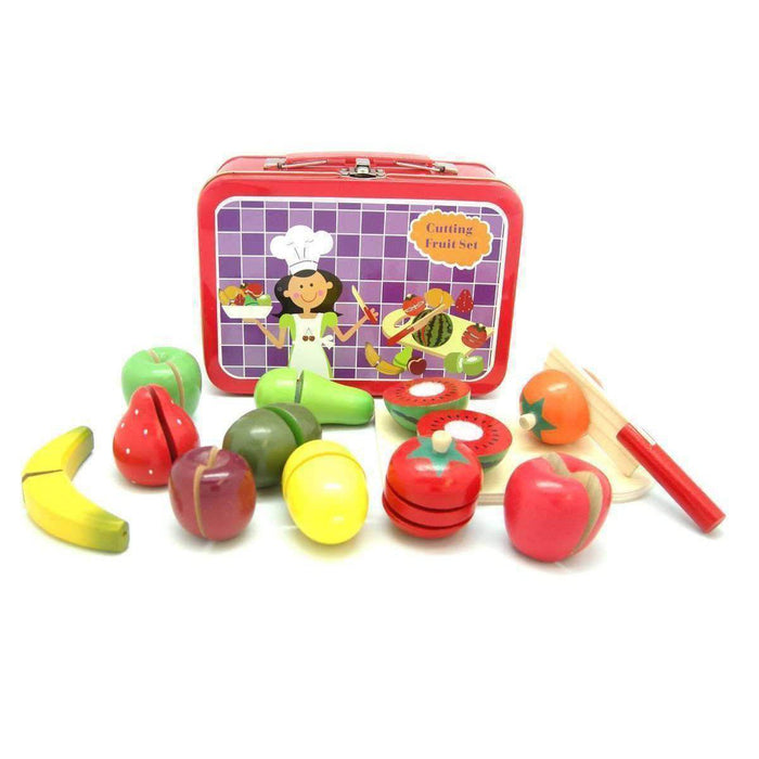 Wooden Fruit Set in Gorgeous Tin Carry Case