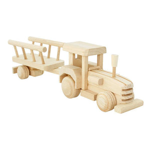Wooden Tractor With Trailer - Betty-Bartu