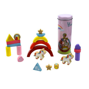 Wooden Unicorn Balancing Block in Metal Cylinder (Pink)-[product_vendor-My Happy Helpers