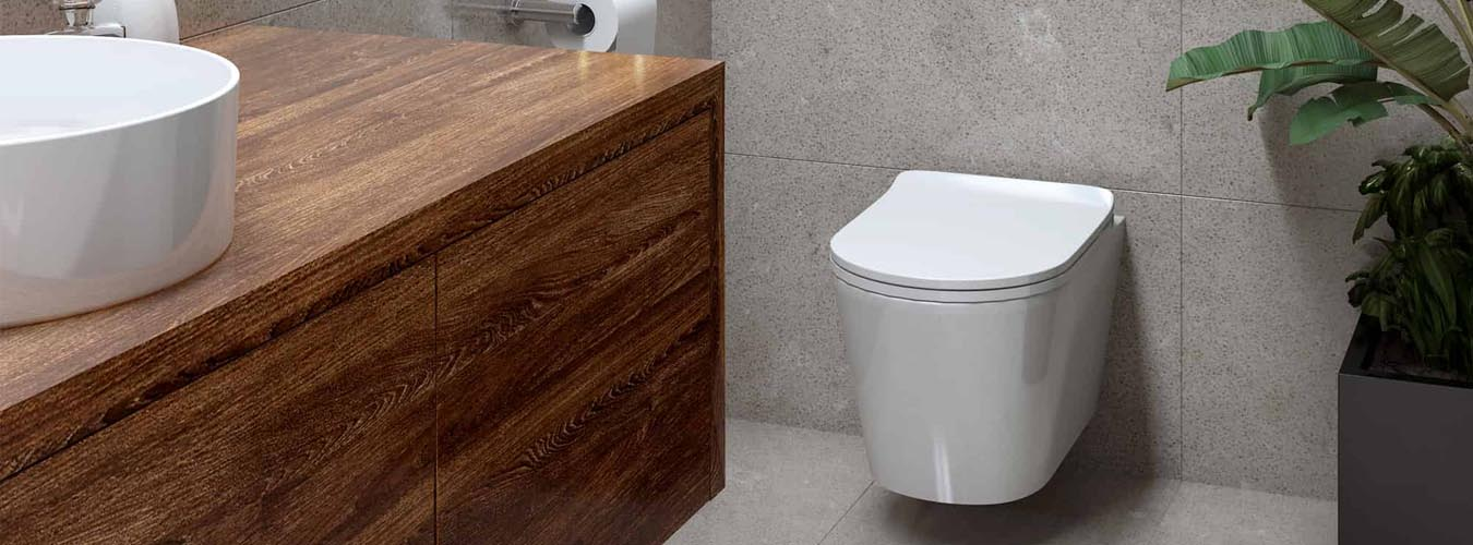 Seima Toilet in a Bathroom with Timber Finish Cabinetry