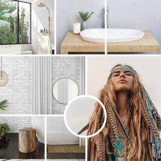 Boho bathroom packages online at The Blue Space