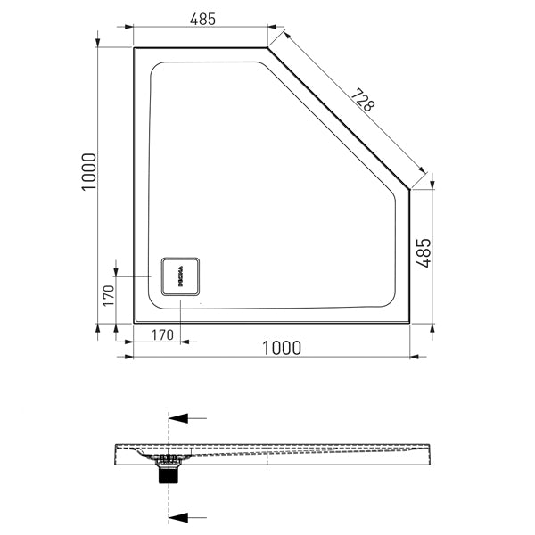 Decina Luna 1000 Angled Shower Base Technical Drawing - The Blue Space